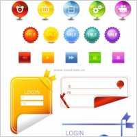 Link toAngular stickers button icons login and other vector