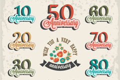 Link toAnniversary retro color tag vector