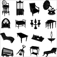 Link toAntique furniture black and white silhouette 01 vector