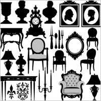Link toAntique furniture black and white silhouette 02 vector
