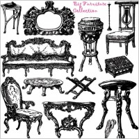 Link toAntique furniture handpainted pattern vector