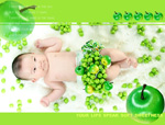 Link toApple green fruit and baby photo psd