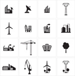 Link toArchitecture black and white icon set vector