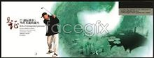 Link toArtistic conception of lotus leaf ink dye golf theme psd