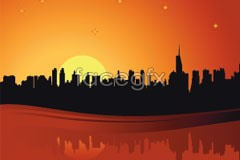 Link toat dusk the city silhouette vector