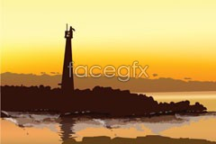 Link tovector on lighthouse island the dusk At