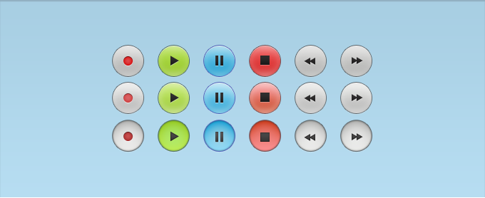 Link toAudio control buttons with all states psd