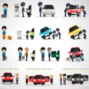 Auto mechanic design vector set free