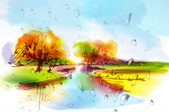 Link toAutumn fantasy watercolors vector illustration