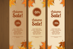 Link toAutumn leaves decorate the discount banner vector