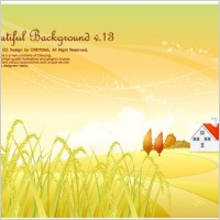 Link toAutumn rice pastoral background vector