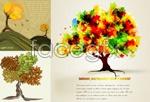 Link toAutumn tree cartoon backgrounds vector