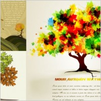 Link toAutumn trees cartoon background pattern vector