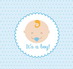 Baby portrait greeting cards vector
