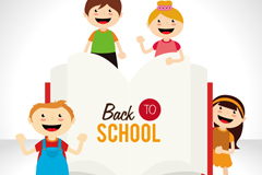 Link toBack to school children and the book vector