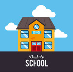 Link toBack to school teaching building posters vector
