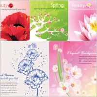 Link toBackground color vector flowers card