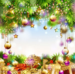 Link toBackground of christmas ball ornaments vector