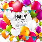 Balloons birthday poster vector