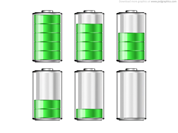 Battery levels icons psd