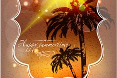Link toBeach coconut trees poster vector