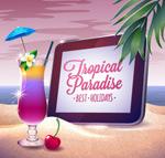 Beach holiday illustration vector