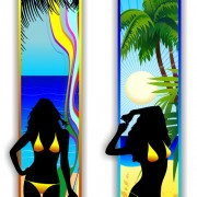 Link toBeach travel people silhouette banner vector 01 free