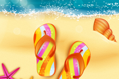 Link toBeautiful beach and beach slippers vector graphics