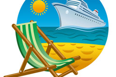 Link toBeautiful beaches and cruise ship background vector
