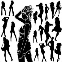 Link toBeautiful black and white silhouette 01 vector