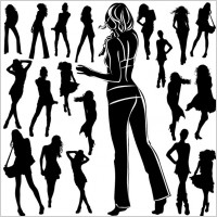 Link toBeautiful black and white silhouette 02 vector