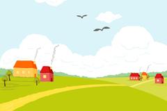 Link toBeautiful cartoon plains village landscape vector