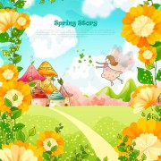 Link toBeautiful cartoon spring scenery vector graphics 01 free