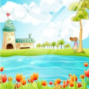 Link toBeautiful cartoon spring scenery vector graphics 02 free