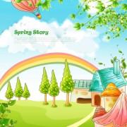 Link toBeautiful cartoon spring scenery vector graphics 03 free