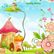 Link toBeautiful cartoon spring scenery vector graphics 04 free