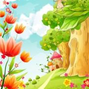 Link toBeautiful cartoon spring scenery vector graphics 05 free