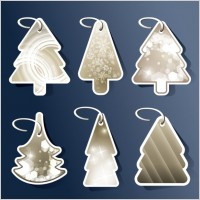 Link toBeautiful christmas tree tag 02 vector