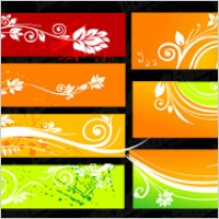 Link toBeautiful color patterns banner vector material