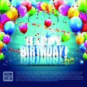 Link toBeautiful colorful balloons happy birthday background vector 01