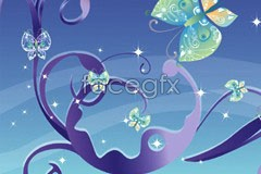 Link toBeautiful fantasy butterfly background vector