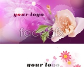 Beautiful flower design business card psd template