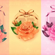 Link toBeautiful flower with ribbon cards vector graphic 01 free