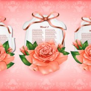 Link toBeautiful flower with ribbon cards vector graphic 02 free