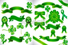 Link toBeautiful four leaf clover and ribbons vector