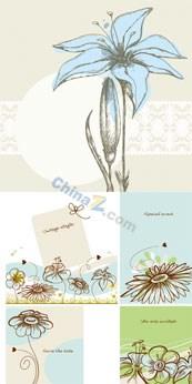 Link toBeautiful hand painted flowers vector