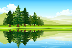 Link toBeautiful lake forest landscape vector