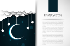 Link toBeautiful moon and stars in the night sky background vector