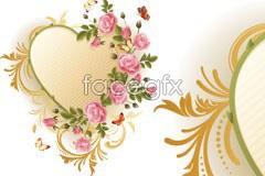 Link toBeautiful pink roses decorated heart-shaped vector