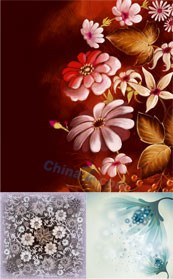 Link toBeautiful plants flower background vector map